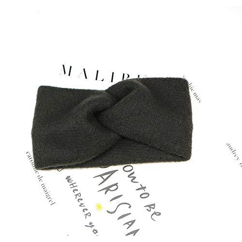 Bandas elásticas para el pelo con cruz de lana y nudos cruzados, para mujeres y niñas, color negro