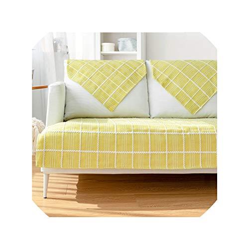 Suzanne Betty Fundas de sofá para sala de estar, estilo nórdico, simple, moderno, a cuadros, universales, antideslizantes, para sofá o esquina, color amarillo, 110 x 110 cm, 1 unidad