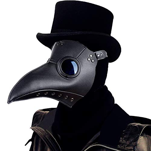 Raxwalker Plague Doctor Bird Mask Long Nose Beak Cosplay Steampunk Halloween Costume Props (Black)