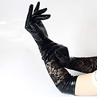 Dgxd European and American style long lacquered leather lace gloves sexy lacquered leather splicing gloves performance glo...