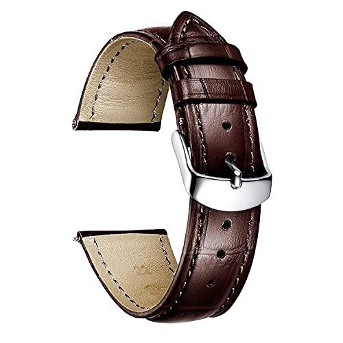 Banda de reloj de cuero Compatible con Samsung Watch Galaxy 46mm / engranaje S3 Classic / Frontier, Huawei Watch GT2 46mm / GT 2E, Treas de cocodrilo de 22 mm para el ritmo del asazate / Stratos / GTR