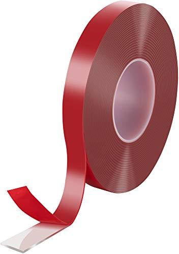 Poppstar Cinta doble cara transparente de acrílico (10 m x 19 mm x 2 mm) | Cinta adhesiva acrílica