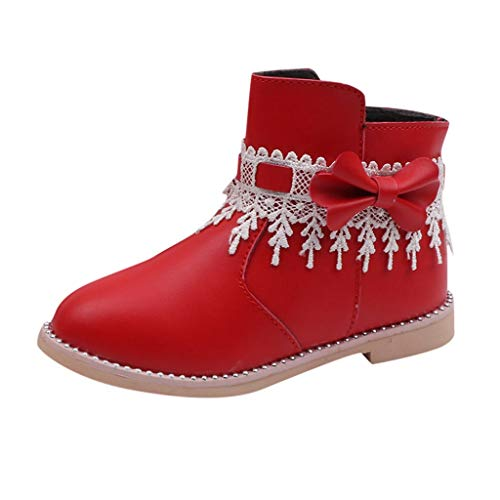 Masoness 💎💎 Kinder Säugling Kinder Baby Mädchen Spitze Bowknot Prinzessin Zip Kurze Stiefel Schuhe Rutschfesten Wildledersohlen Weiche Lauflernschuhe Lernlaufschuhe Krabbelschuhe