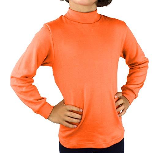 KLOTTZ - Camiseta Carnaval Manga Larga niños Fabio Halloween. Polo Cuello semicisne e Interior Afelpado. Niñas Color: Naranja Talla: 14