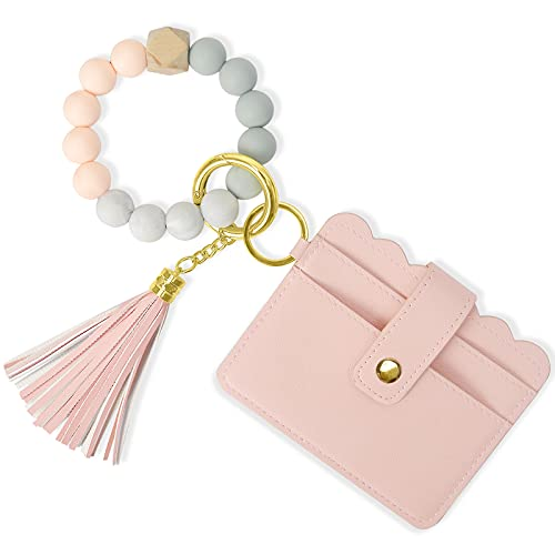Wrist Keychain Bracelet Wallet, YUOROS Rubber Bead Keyring Bracelet Wristlet Keychain Bangle with Card Holder ID Window (Pink)