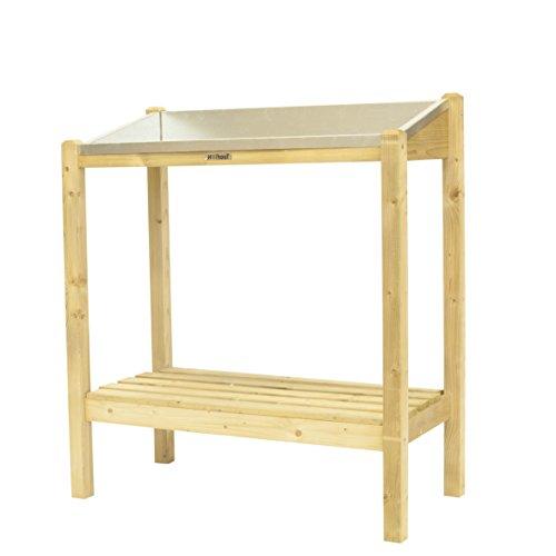 HILLHOUT 8711375113890 Table de Rempotage Métal, Bois Naturel, 90 x 45 x 100 cm