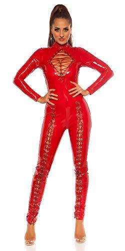 Koucla Catsuit aus Latex, Wet-Look, glänzend, mit Schnürung, Rot Gr. 36, rot