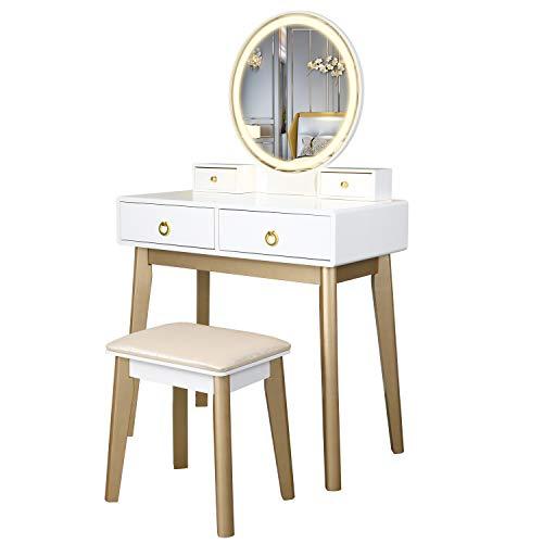 FREDEES Vanity Table Set mit 3-farbigem Touchscreen-Dimmer, rundem Spiegel, Schminktisch mit 4 Schiebeschubladen und Touchscreen-Lichtsteuerspiegel für Schlafzimmer