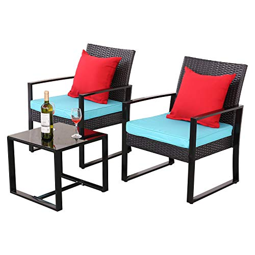 Do4U 3 Pieces Patio Furniture Sets Outdoor Wicker Chair Conversation Sets with Coffee Table for Garden Balcony Porch (Turquoise)