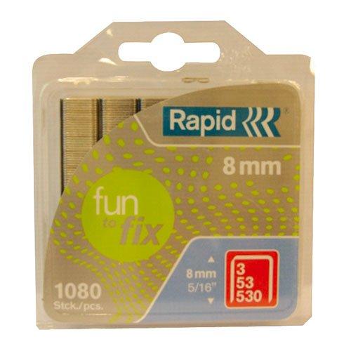 RAPID 40108718 40108718-Grapa FunToFix 53 8 mm. 1.08M blíster, Gris, 8mm, Set de 1080 Piezas