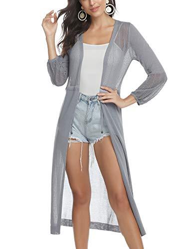 Aibrou Cardigan Donna Elegante a Manica Lunga Cardigan Casuale a Maglia Chiusura Semitrasparente per Primavera Estate Autunno