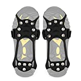 Wirezoll Traction Cleats, Anti Slip 11 Teeth Stainless Steel Durable Silicone Crampons, for Walking, Jogging, Hiking, Mountaineering Ice Snow Grips (Medium, 11 Teeth Black)