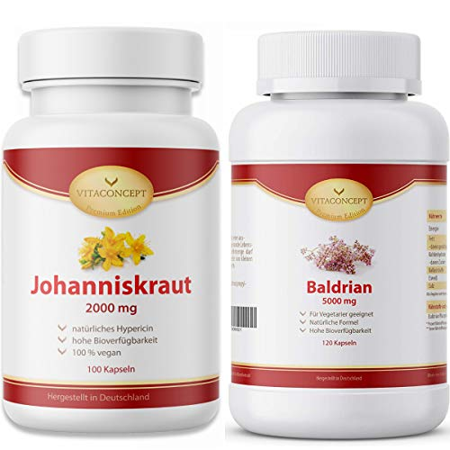 Johanniskraut und Baldrian - 100 Johanniskraut Kapseln Hochdosiert 2000 mg I 120 Baldrian Kapseln...