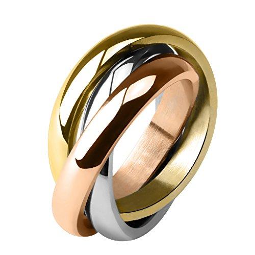 Taffstyle® Damen Verlobungsring Wickelring Designer Schmuck 3 in 1 Ring Edelstahl - Silber Gold Bronze - Größe 58 (18.5)