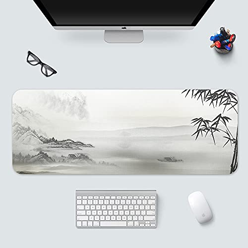 ROZEIP Large Gaming Mouse Pad with Stitched Edges Ink Landscape Painting Bamboo Leaves Extended Mousepad, Non-Slip Base Water Resist Keyboard Pad Desk Mat for Gamer Office 39.3x19.7in