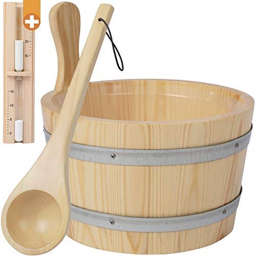 Sauna Kübel aus Kiefernholz als Sauna Zubehör Set - Saunazubehör Set besteht aus Sauna Eimer mit Kelle für Saunaaufguss, Sanduhr + Saunaöl