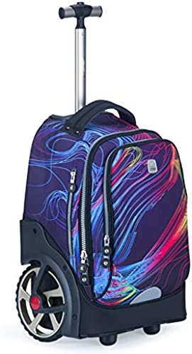 Bvc Rolling Rucks e Wasserdichte Trolley Schultasche Reisetasche Rucksack für Jungen mädchen