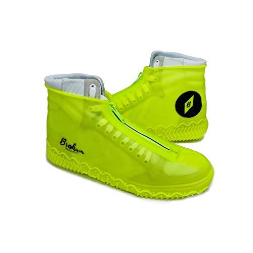 Broham Regenschutz Schuhe - wasserdichte Überschuhe, Silikon Überschuhe für Damen & Herren - Schuhüberzieher wasserdicht, Regenschutz Fahrrad (Neon-Gelb)
