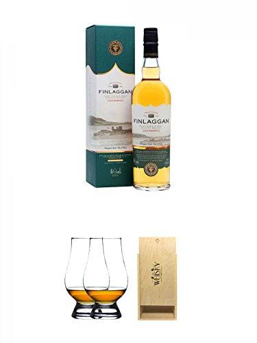 Finlaggan Old Reserve Islay Single Malt Whisky 0,7 Liter + The Glencairn Glass Whisky Glas Stölzle 2 Stück + 1a Whisky Holzbox für 2 Flaschen mit Schiebedeckel