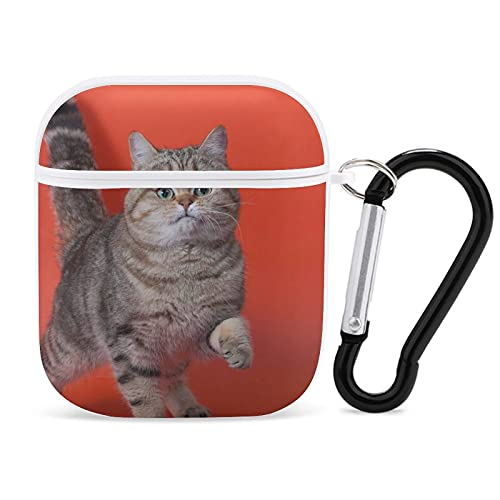 Funda Protectora para AirPods, Pedigree Cat Lifted A Front Paw Print Apple Bluetooth Headset Cover A Prueba de Golpes Antiarañazos Compatible para Airpods 1st / 2nd para Hombres Mujeres