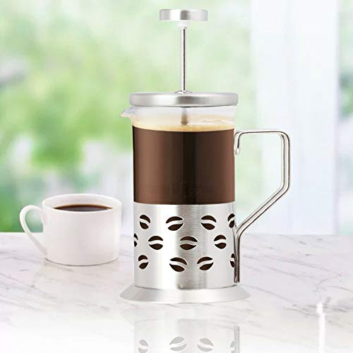 Stainless Steel French Press Coffee Maker - Travel Size Coffee Press with Steel Engraving - Heat Resistant Borosilicate Glass French Press - 8' Single Serve Coffee Maker