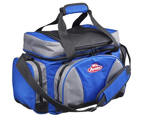 Berkley System Schultertasche mit 4 Tackle Boxen Perfekt für Angelzubehör, Köder und Mittagessen Aufbewahrung L grau/blau