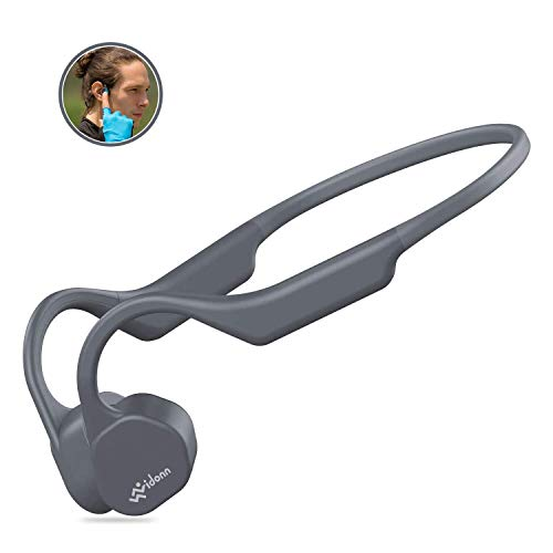 Vidonn F3 Bone Conduction Headphones Open Ear Wireless Bluetooth 5.0 Sport Earphones w/Mic HD Stereo Sweat-Proof Lightweight 29g Bluetooth Headset for Running Cycling Driving Fitness (Grey)