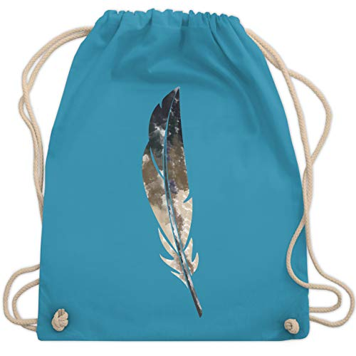 Shirtracer Statement - Wasserfarben Feder - Unisize - Hellblau - turnbeutel grau - WM110 - Turnbeutel und Stoffbeutel aus Baumwolle