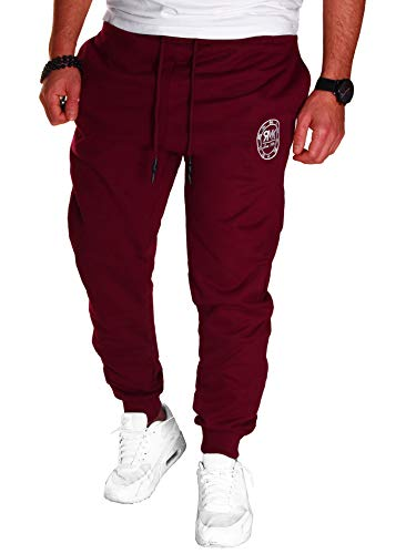 RMK Herren Hose Jogginghose Trainingshose Sporthose Fitnesshose Sweatpants Uni Einfarbig H.07 (L, Rot)