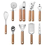 Kitchen Utensil Set with Acacia Wood Handles 9 Pcs Stainless Steel Kitchen Cooking Tools Essentials...