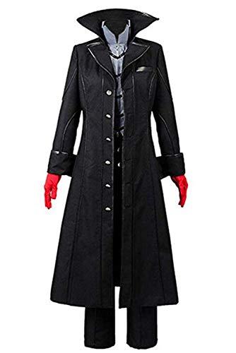 Helymore Uomini Anime Gioco Cosplay Joker Costume Akira Kurusu Giacca Lunga Nera Set Completo, M