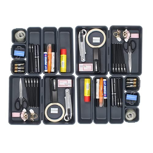 Organizador de Cajones, 16 piezas, Cajas Bandejas de Plástico Apilables Almacenamiento para Cajones, Escritorio, Cocina, Baño, Maquillaje, Armario (Gris oscuro)