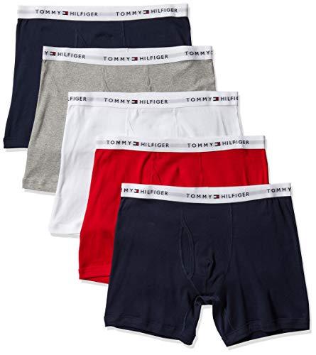 Tommy Hilfiger Men's Underwear Multipack Cotton Classics Boxer Briefs, Mahogany (5 Pack), M