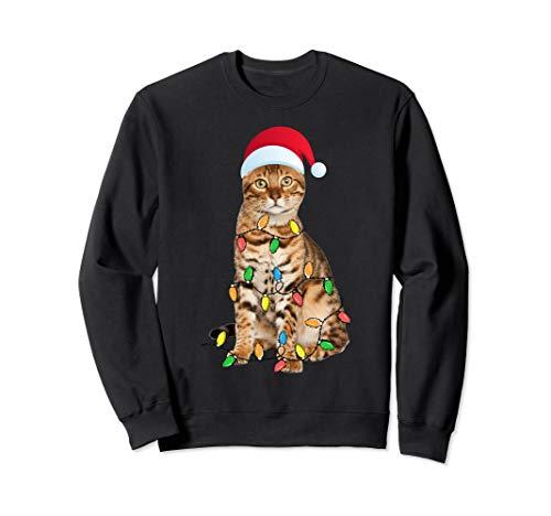 Christmas Bengal Cat Gift - Bengal cat Funny Santa Hat Xmas Sweatshirt