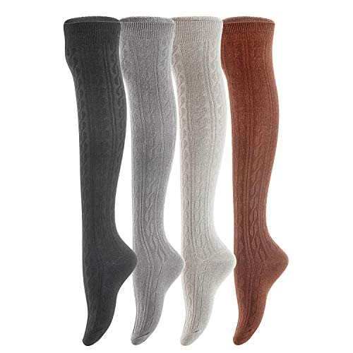 Lian LifeStyle Women's 4 Pairs Adorable, Super Comfortable and Ultra-Soft Thigh High Cotton Socks LW1024 Size 6-9 (Black,Coffee, Grey, DarkGrey)