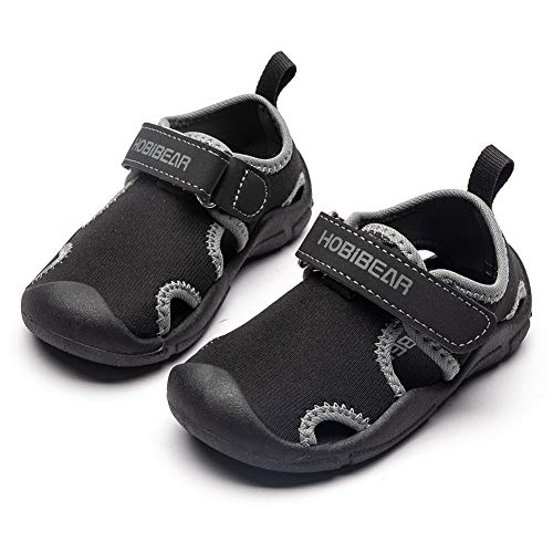 HOBIBEAR Toddler Boys Girls Water Shoes Quick Dry Closed-Toe Aquatic Sport Sandals (Black,7.5 Toddler)