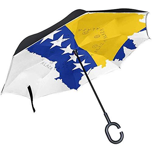 Elxf Umgekehrter Regenschirm kroatischer Flaggen-Landkarten-Doppelschicht-Rückwärtsschirm für Auto- und Außengebrauch durch, Winddicht