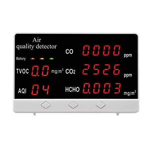 W-L Interior/Exterior CO/HCHO Digital/probador COVT AQI CO2 Medidor de Calidad del Aire del Monitor del Detector de múltiples Funciones del hogar Analizador de Gas Monitor de Calidad del Aire