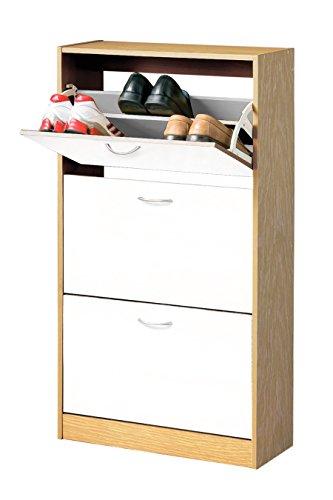 Premier Housewares–Zapatero con 3cajones, Madera, Madera, Oak/White, 24x63x118 cm