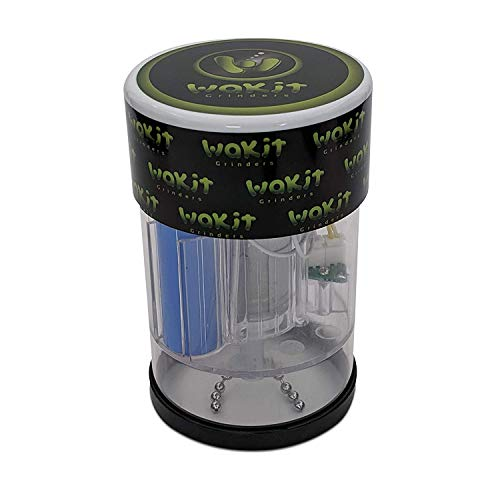 Wakit Grinders (KLR Series) - Electric Herb Grinder with See Through Herb Chamber Lit by LED Lights While Grinding when Ball and Chain is activated via Quick Short Taps (Lucid)