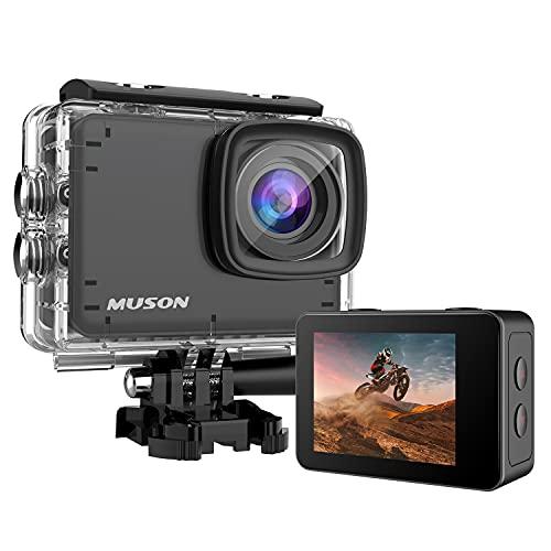 【本機防水10M】 MUSON(ムソン) アクションカメラ 4K 60FPS 20MP 手ブレ補正 wifi搭載 170度広角レンズ 1350mAhバッテリー2個 リモコン付き 2インチ液晶画面 HDMI出力 水中カメラ バイクカメラ スポーツカメラ ウェブカメラ 豊富なアクセサリー アクションカム Ultra1-X (防水ケース付)