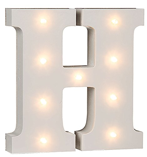 Beleuchtete Holz Buchstaben & Ziffern mit LEDs Zahlen Dekoration Wohnaccessoires: Farbe: Buchstabe: H