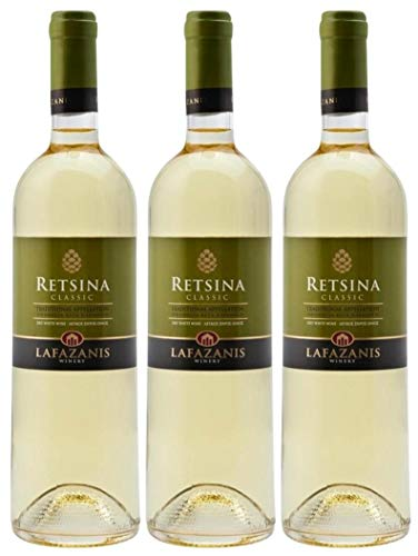 3x 0,75l Retsina Lafazanis | Geharzter Weißwein aus Griechenland | 11% Vol. | Jahrgang 2020