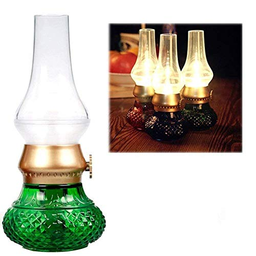 Blazer controlelamp, nostalgische retro spaarlamp, decoratieve LED-lamp, vlamloze kaars, oplaadbare lantaarn, tafelolie, bedlampje Groen