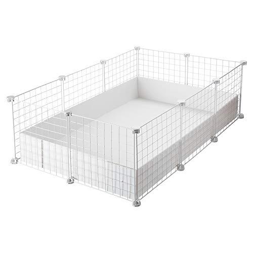 CagesCubes - Jaula CyC Medium (2X3 Paneles en Blanco) + Base de Coroplast Blanco para cobayas