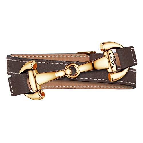 DIMACCI Trensen-Armband Kalbsleder   Alba-Kollektion in Mokka-Gold Optik aus Edelstahl   Schmuck für Reiter-Damen in Geschenk-Box (Mokka, Edelstahl vergoldet)