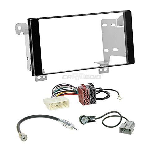 Carmedio Subaru XV ab 12 2-DIN Autoradio Einbauset in original Plug&Play Qualität mit Antennenadapter Radioanschlusskabel Zubehör und Radioblende Einbaurahmen schwarz