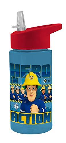 POS 27264 - Trinkflasche mit Feuerwehrmann Sam Motiv, transparent mit Strohhalm zum hochklappen, BPA-frei, Fassungsvermögen ca. 450 ml, ideal für Schule, Sport und Freizeit