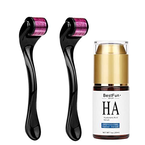 Pantrasamia Dermaroller pour le visage - microneedling - 540 micro-aiguilles en titane de 2 packs (0.5mm   1.5mm) & Le meilleur Sérum à l Acide Hyaluronique Hydratant pour le visage