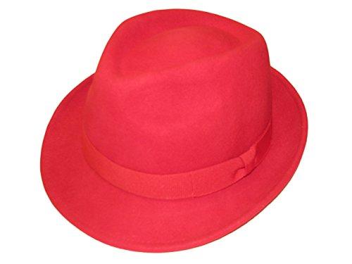 Major Wear Unisexe Rouge 100% Laine en Feutre Fedora Chapeau avec Bande – 4 Tailles - Rouge - X-Large